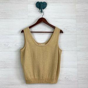 St John Santana Knit Gold Shimmer Shell
